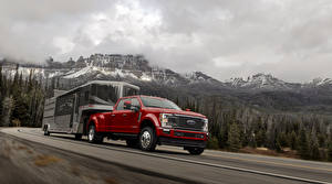 Picture Ford Red Pickup Moving 2020 F-450 Super Duty Limited Crew Cab Cars