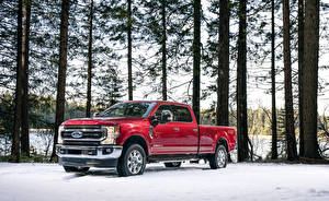 Bilder Ford Rot Metallisch Pick-up 2020  F-250 Super Duty King Ranch Crew Cab