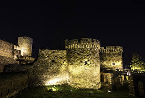 Pictures Fortress Belgrade Serbia Night Street lights