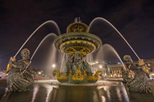 壁纸、、フランス、噴水、彫刻、パリ、街灯、夜、Fontaine des Mers、