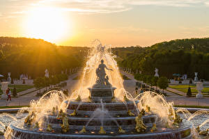 Wallpapers France Fountains Sculptures Sunrises and sunsets Paris Town square Versailles Cities