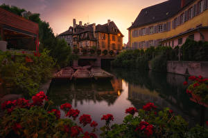 Picture France Building Evening Berth Begonia Canal Colmar Cities