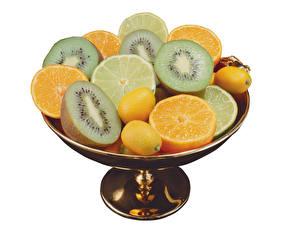 Bilder Obst Kiwi Apfelsine Zitrone Weißer hintergrund Lebensmittel