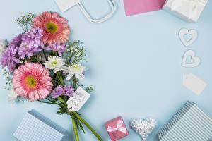 Fotos Gerbera Blumensträuße Feiertage Vorlage Grußkarte Mother's Day