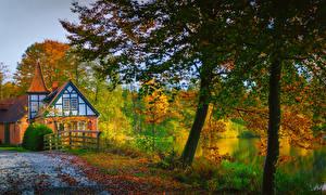 Fonds d'écran Allemagne Automne Maison Rivières Arbres Ahausen Lower Saxony