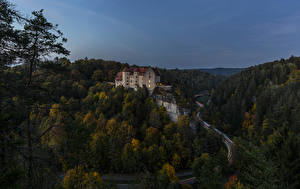 Picture Germany Castles Forests Roads Evening Burg Rabenstein Nature
