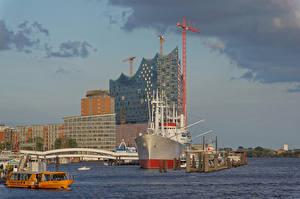 Bilder Deutschland Hamburg Flusse Gebäude Bootssteg Schiffe Städte