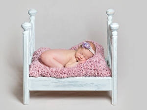 Photo Gray background Bed Baby Sleep Children