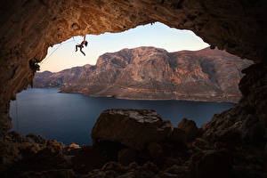 Pictures Greece Mountain Stones Mountaineering Cave Bay Climber Crag Kalymnos Girls