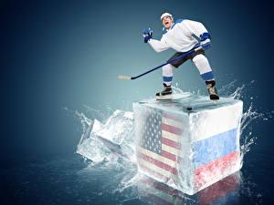 Bilder Hockey Mann Russland USA Uniform Wasser spritzt