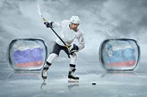 Fotos Hockey Mann Uniform Eisbahn
