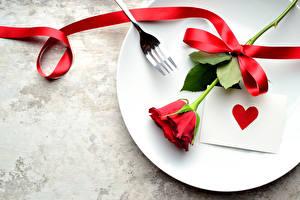 Fotos Feiertage Rosen Teller Rot Herz Band Blumen