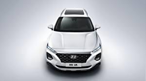 Pictures Hyundai White Front Crossover Santa Fe 2019 auto