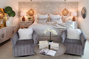 Image Interior Design Bedroom Bed Wing chair Pillows Lamp