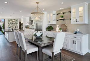 Photo Interior Design Kitchen Table Chair Chandelier
