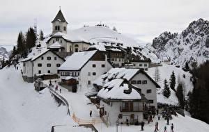 Photo Italy Building Winter Mountains Village Snow Ski village of Monte Lussari Cities