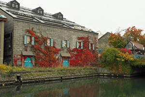 Hintergrundbilder Japan Gebäude Kanal Otaru Hokkaido