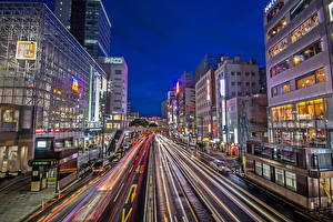 Pictures Japan Building Roads Evening Street Sendai