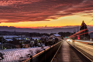 Images Japan Houses Roads Sunrises and sunsets Winter Fence Numata Cities