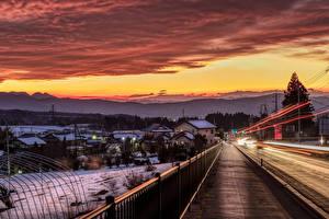 Hintergrundbilder Japan Gebäude Straße Sonnenaufgänge und Sonnenuntergänge Winter Zaun Numata Städte