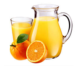 Pictures Juice Orange fruit White background Pitcher Highball glass