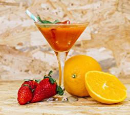 Pictures Juice Strawberry Orange fruit Cocktail Stemware