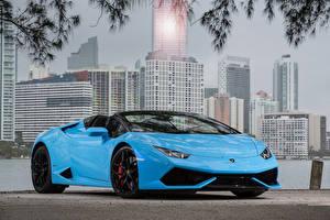Pictures Lamborghini Light Blue Metallic Roadster 2015-19 Huracan LP 610-4 Spyder Worldwide auto