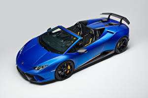 Images Lamborghini Gray background Blue Roadster 2018 Huracan Perfomante Spyder Worldwide
