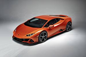 Fondos de Pantalla Lamborghini Fondo gris Naranja 2019 Huracan EVO