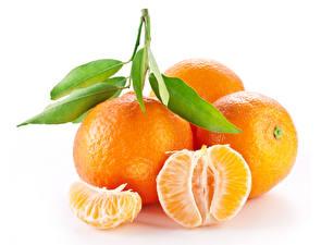 Fotos Mandarine Großansicht Weißer hintergrund Blattwerk das Essen