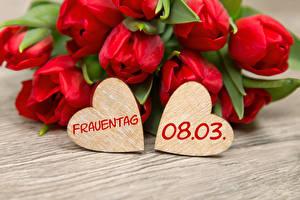 Hintergrundbilder Internationaler Frauentag Tulpen Bretter Deutsch Rot Herz Blüte