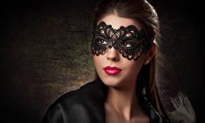 Hintergrundbilder Maske Braune Haare Rote Lippen Gesicht Mädchens