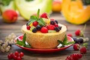 Bilder Melone Beere Himbeeren Brombeeren