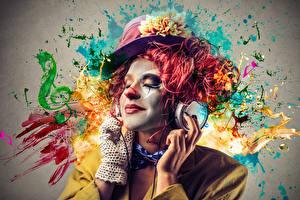 Hintergrundbilder Mann Clown Der Hut Make Up Kopfhörer