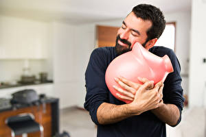 Photo Men Hands Smile Beard Piggy bank