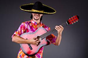 Hintergrundbilder Mann Grauer Hintergrund Gitarre Der Hut Hand