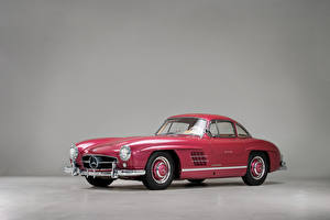 Photo Mercedes-Benz Retro Gray background Pink color Metallic 1956 300 SL Cars