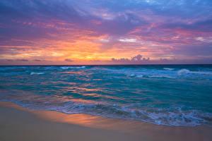 Bilder Mexiko Meer Küste Wasserwelle Sonnenaufgänge und Sonnenuntergänge Natur