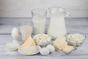 Pictures Milk Cheese Quark curd cottage farmer cheese Jugs Highball glass Eggs Oil Cream Food