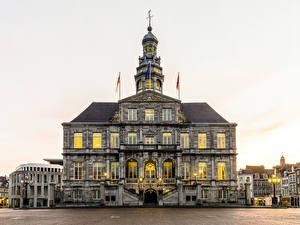 壁纸、、オランダ、建物、街灯、Maastricht、
