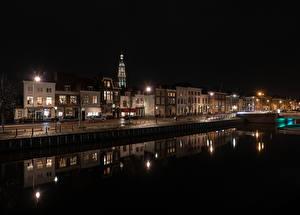 壁纸、、オランダ、建物、運河、夜、街灯、Middelburg、