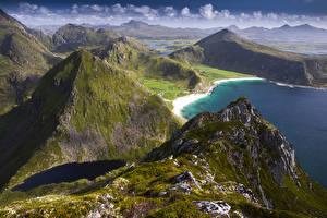 Picture Norway Lofoten Coast Mountains Vagen Nature