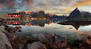 Picture Norway Lofoten Mountains Building Stones Village Reine