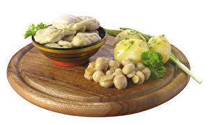 Desktop hintergrundbilder Wareniki Kartoffel Pilze Weißer hintergrund das Essen