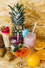 Wallpapers Pineapples Cocktail Orange fruit Kiwi Highball glass Stemware Food
