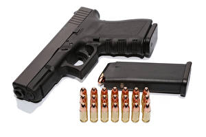 Wallpaper Pistols Cartridge (firearms) White background Army