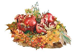 Images Pomegranate White background Foliage Grain Food