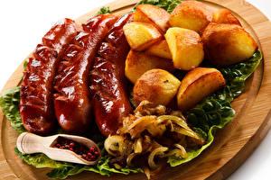 Hintergrundbilder Kartoffel Frankfurter Würstel Schneidebrett