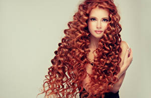 Images Curly Redhead girl Hair Glance Colored background Beautiful Female Girls