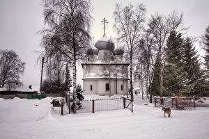 Image Russia Temple Church Winter Snow Fence Belozersk Vologda Oblast Cities
